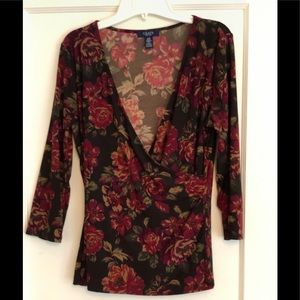 CHAPS floral crossover top